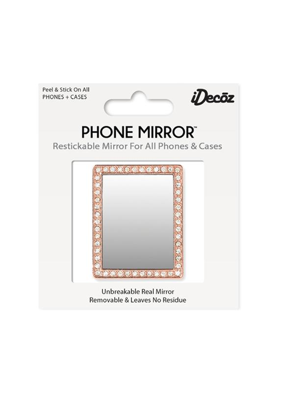 Rose Gold Rectangle w/Crystals Phone Mirror