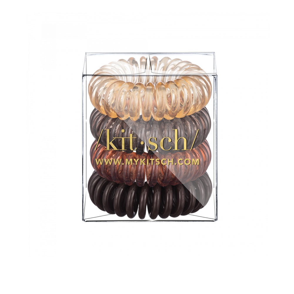 4 Pack Mini Hair Coils - Brunette