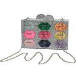 Sparkle Lips Lucite Clutch