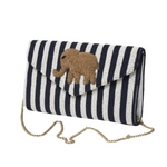 Stripe Beaded Elephant Clutch