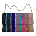 Stripe Beaded Half Flap Clutch with Chain Strap