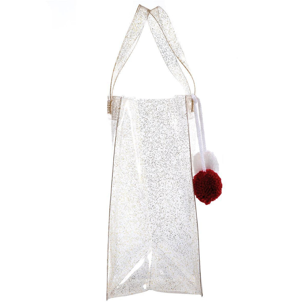 Frosted Gold Glitter Wine Tote