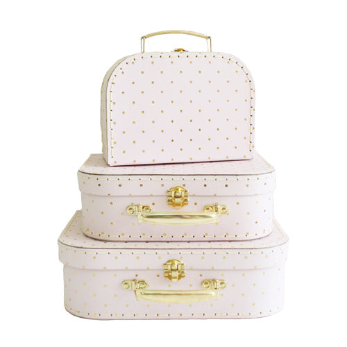 Pink with Gold Dot Suitcase