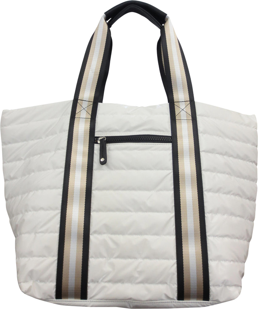 Nylon Quilted Puffer Tote with Striped Handles