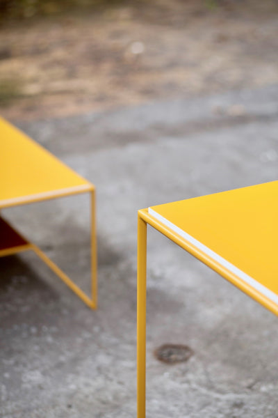 One on One - Bistro Table Yellow / Light Blue  Indoor