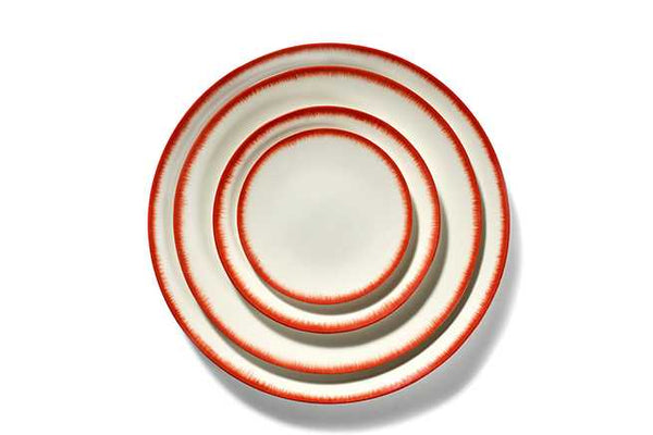 DÉ PLATE D14 CM  OFF-WHITE/RED VAR 2