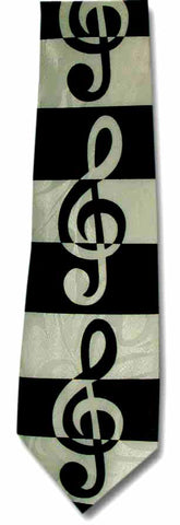 Striped Treble Clef Tie