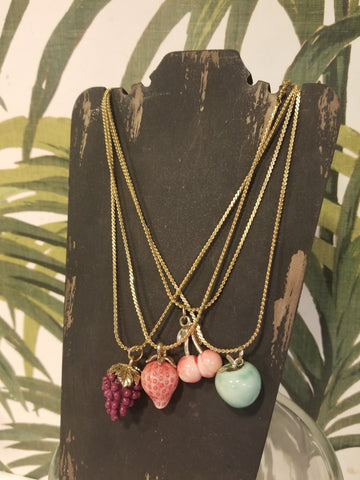 Vintage Fruit Charm Necklace