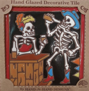 Cowboy Happy Hour Day of the Dead Tile