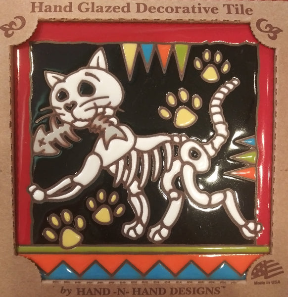 Pet Cat Day of the Dead Tile