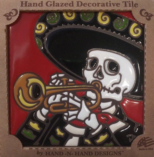 Mariachi Trumpet Day of the Dead Tile