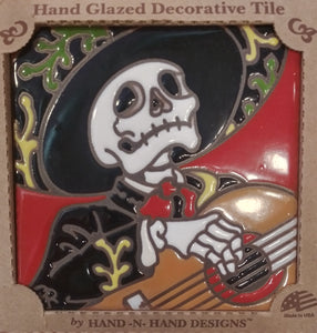 Mariachi Guitarist Day of the Dead Tile