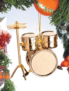 Drum Set Ornament in Gold