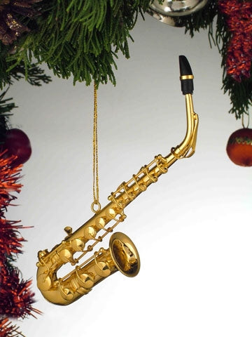 Alto Sax Ornament in Gold