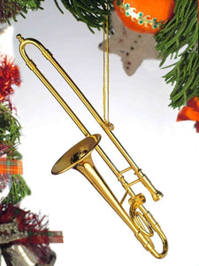 Trombone Ornament in Gold
