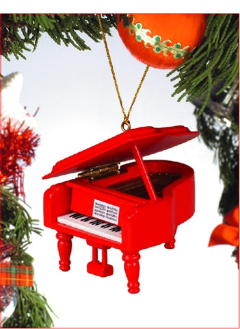Grand Piano Ornament in Red