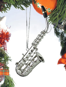 Alto Sax Ornament in Silver