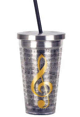 Treble Clef Cup with Straw