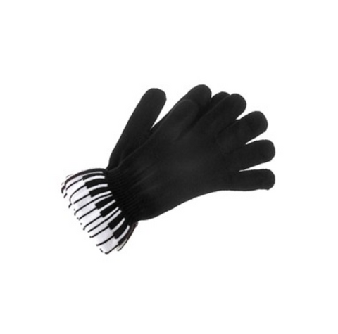 Black Piano Key Knit Gloves