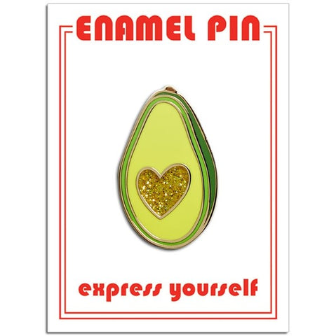 Avocado Glitter Heart Lapel Pin