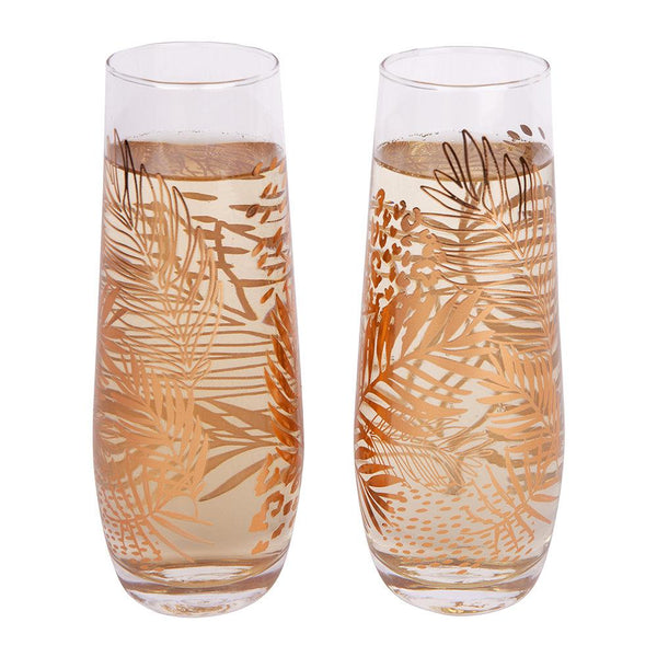 Stemless Champagne Glasses - Electric Bloom