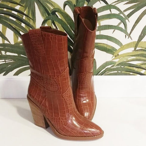 Tan Crocodile Print Boots