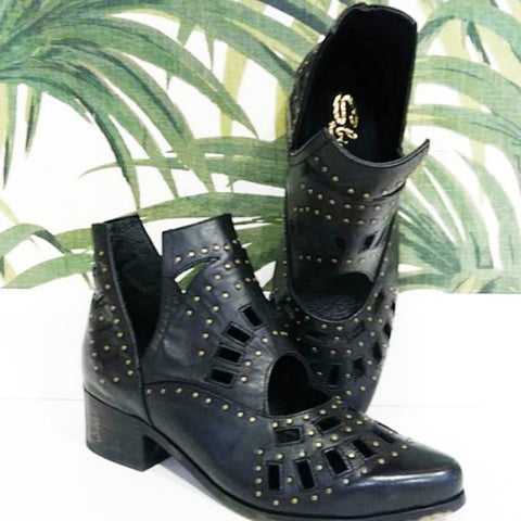 Studded Cut Black Boots