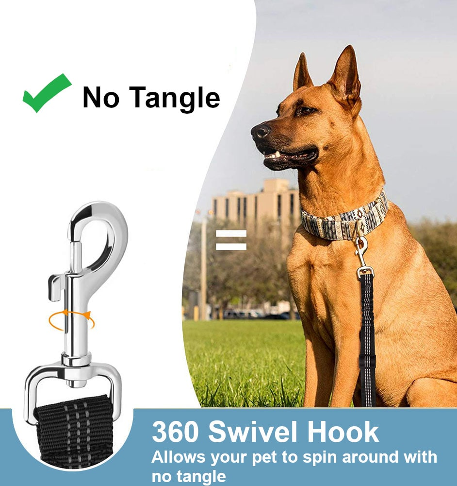 Our Dog Seat Belt does not tangle with the 360 degree swivel hook