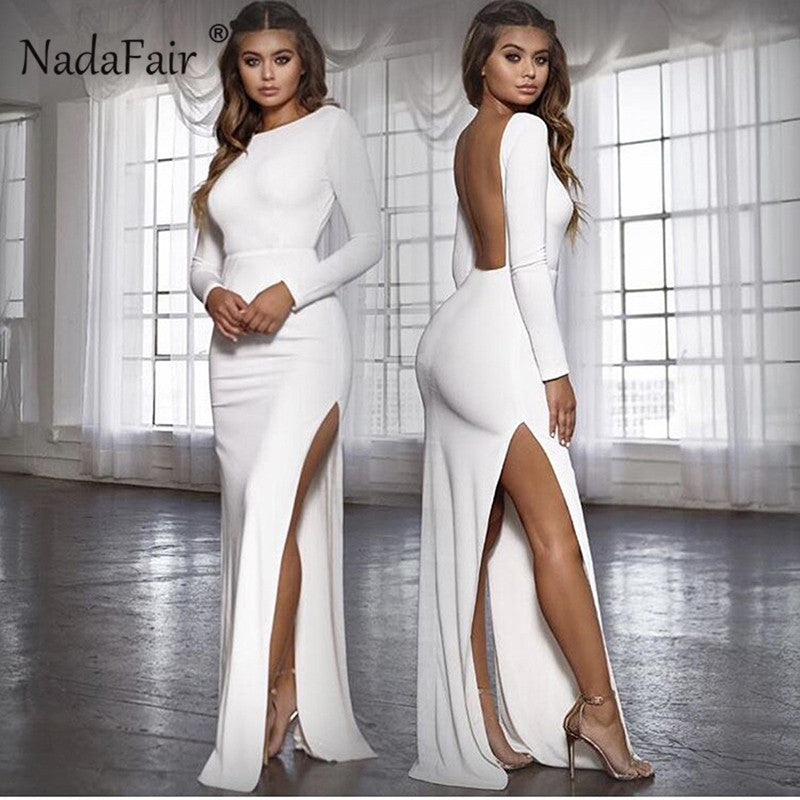 Elegant Backless Long Sleeve Party Dress