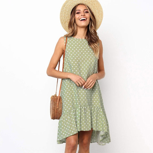 Casual Dot Printed Boho Ruffles Dress