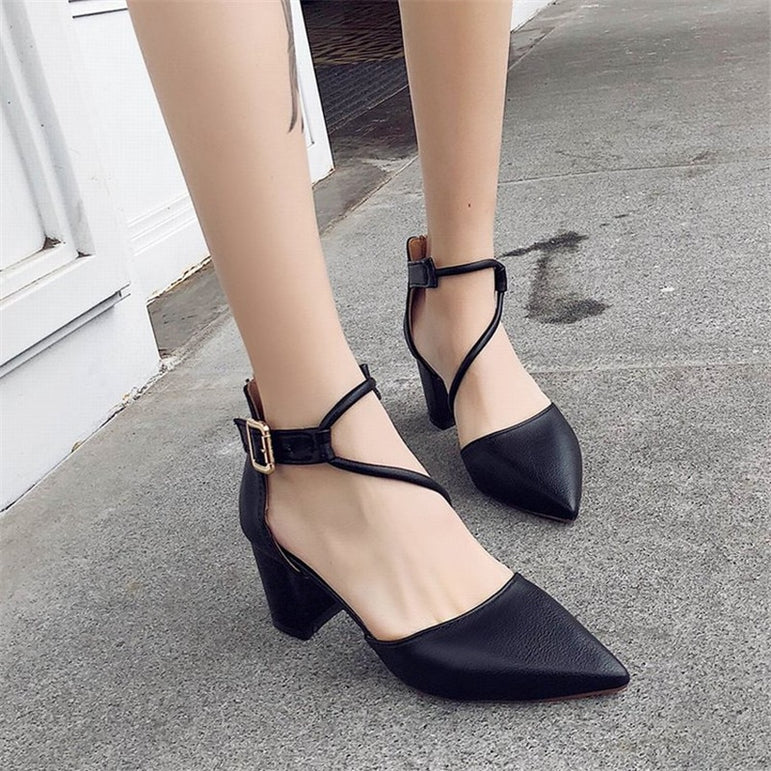 Thick Shallow Mouth  pointed Straps High Heel