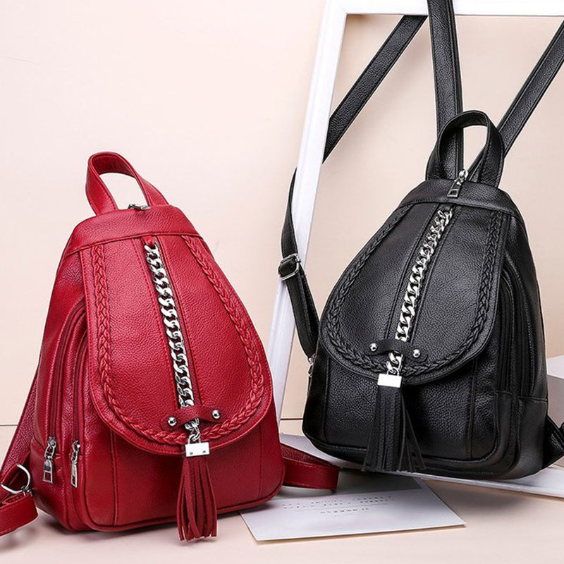 Tassel High Quality Leather Backpack