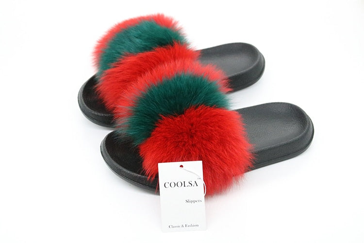 Real Fox Fur Vogue Fluffy Slippers
