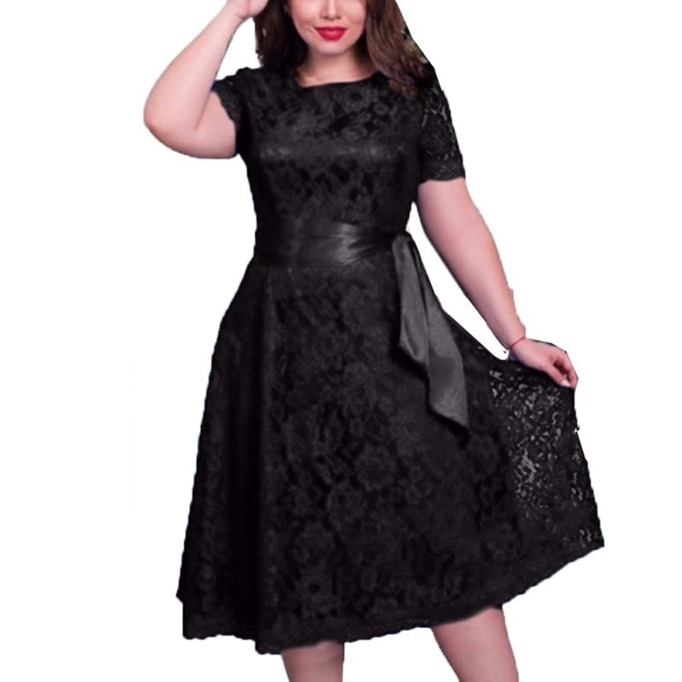 Elegant Lace Up Plus Size Dress