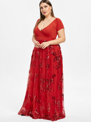 Elegant Evening Floral Short Sleeve Maxi Dress