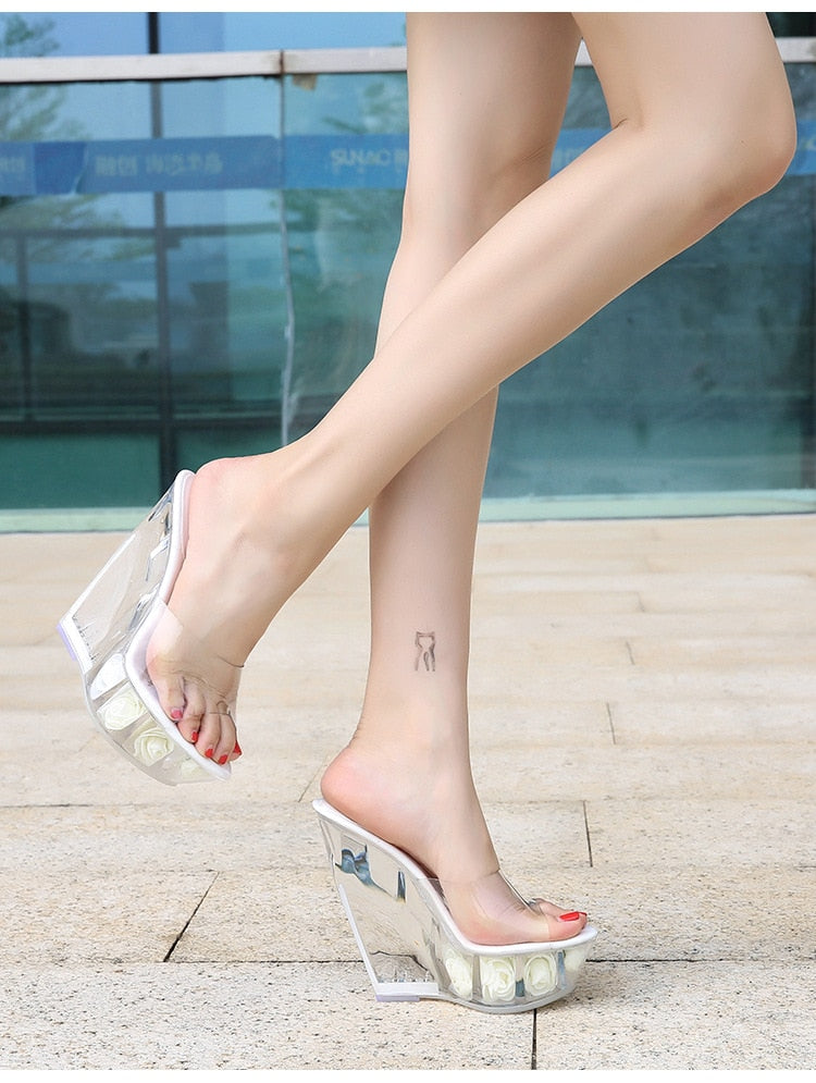 Crystal Platform Transparent High Heels