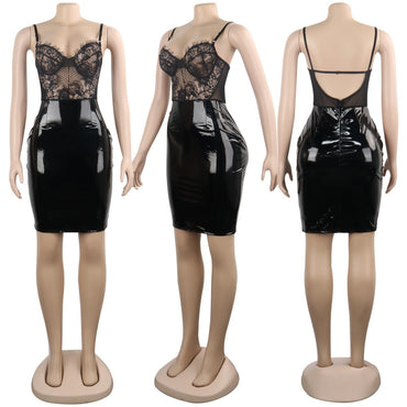 Leather Bodycon Lace Club Wear Dress