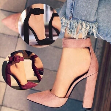 Classic Chunky Pointed Toe Ankle Buckle High Heel