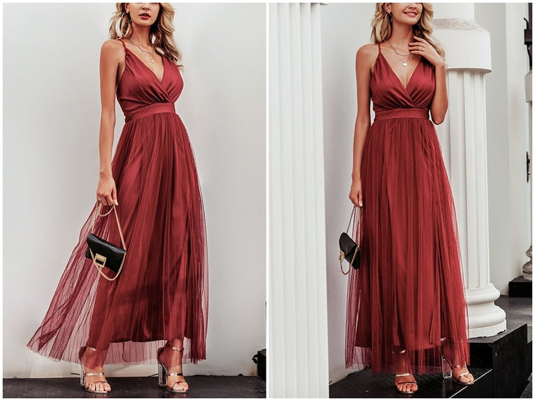 Elegant Lace Evening Maxi Dress