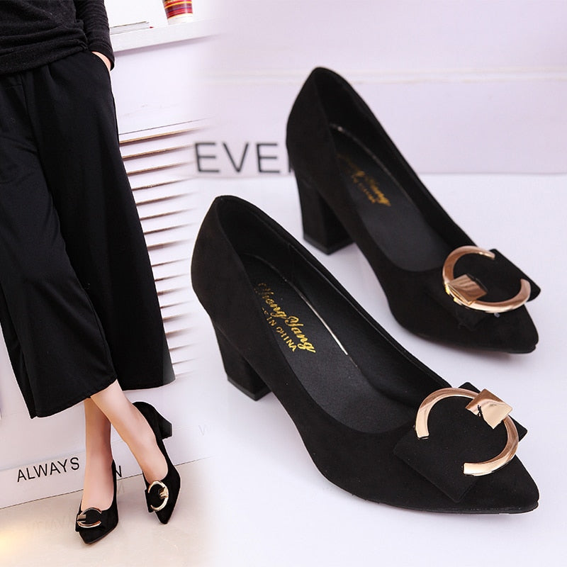 Thick pointed Shallow Mouth High Heels
