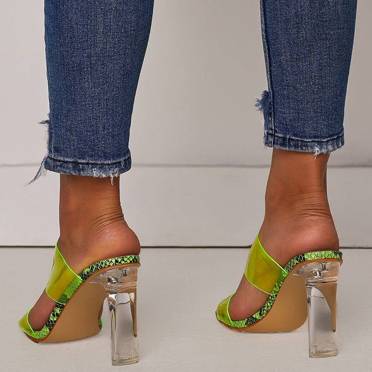 Open Toes Transparent Crystal High Heel Slippers