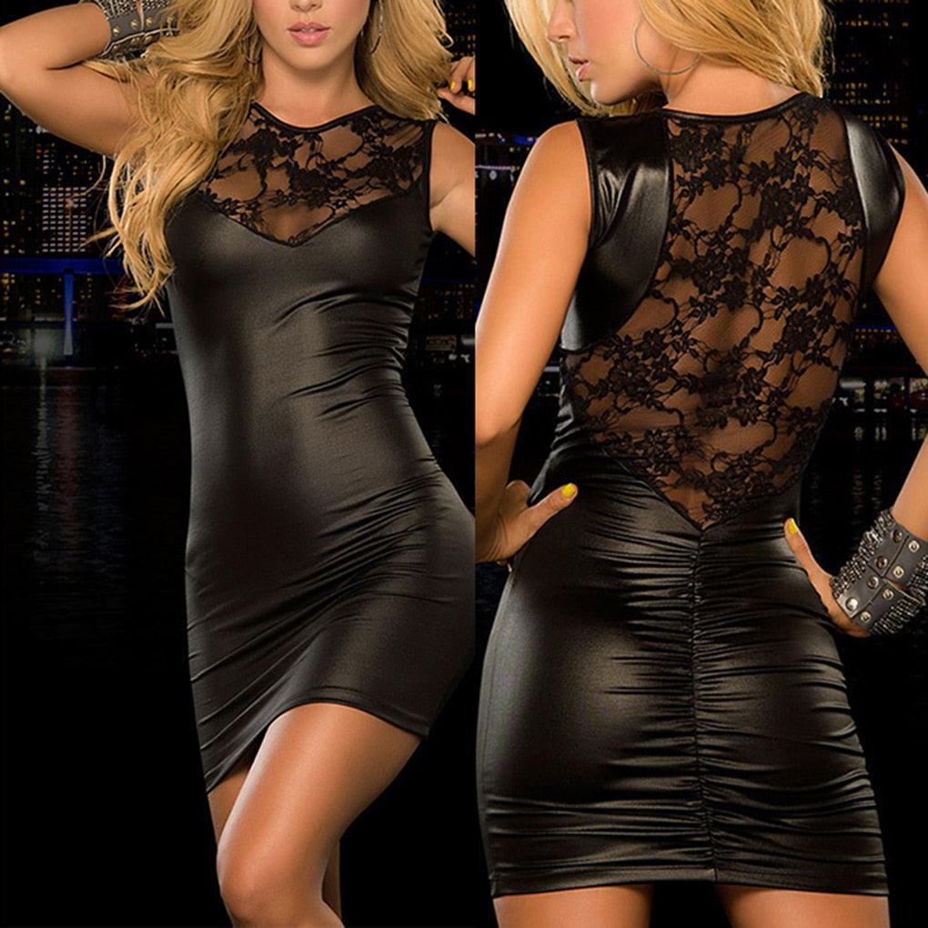 Leather Lace Mini Dress