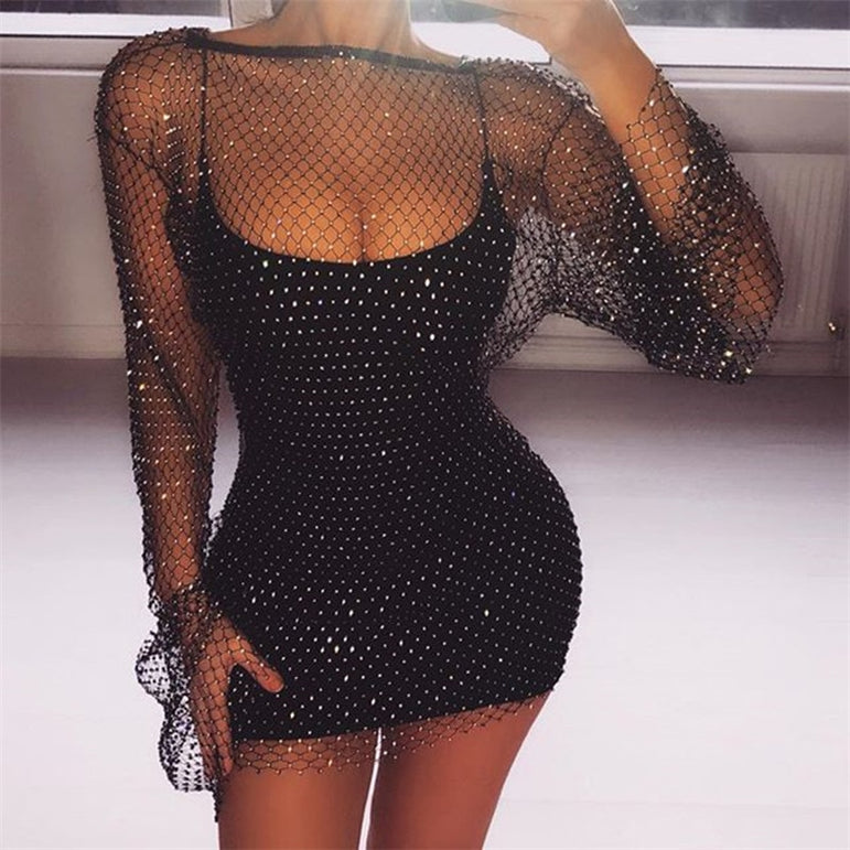 Party Diamonds Mesh Patchwork Dress
