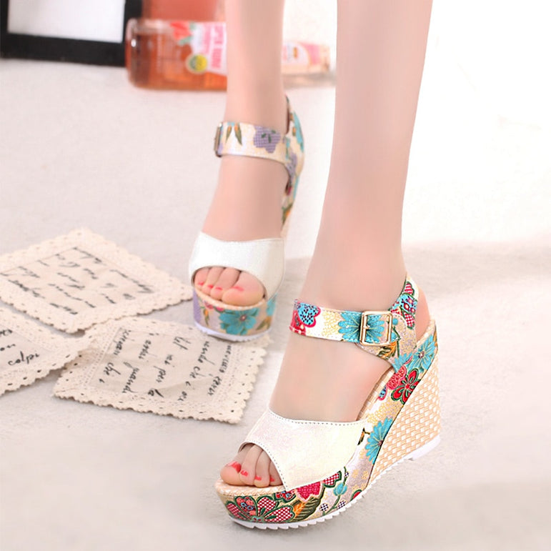 Super Floral Open Toe High Heels