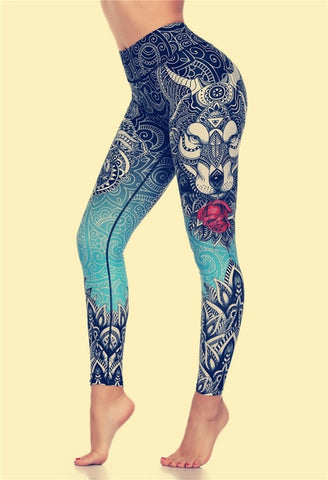 Elastic Tight Yoga Wolf Print Leggings