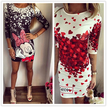 Casual Print Sweet Cartoon Dress