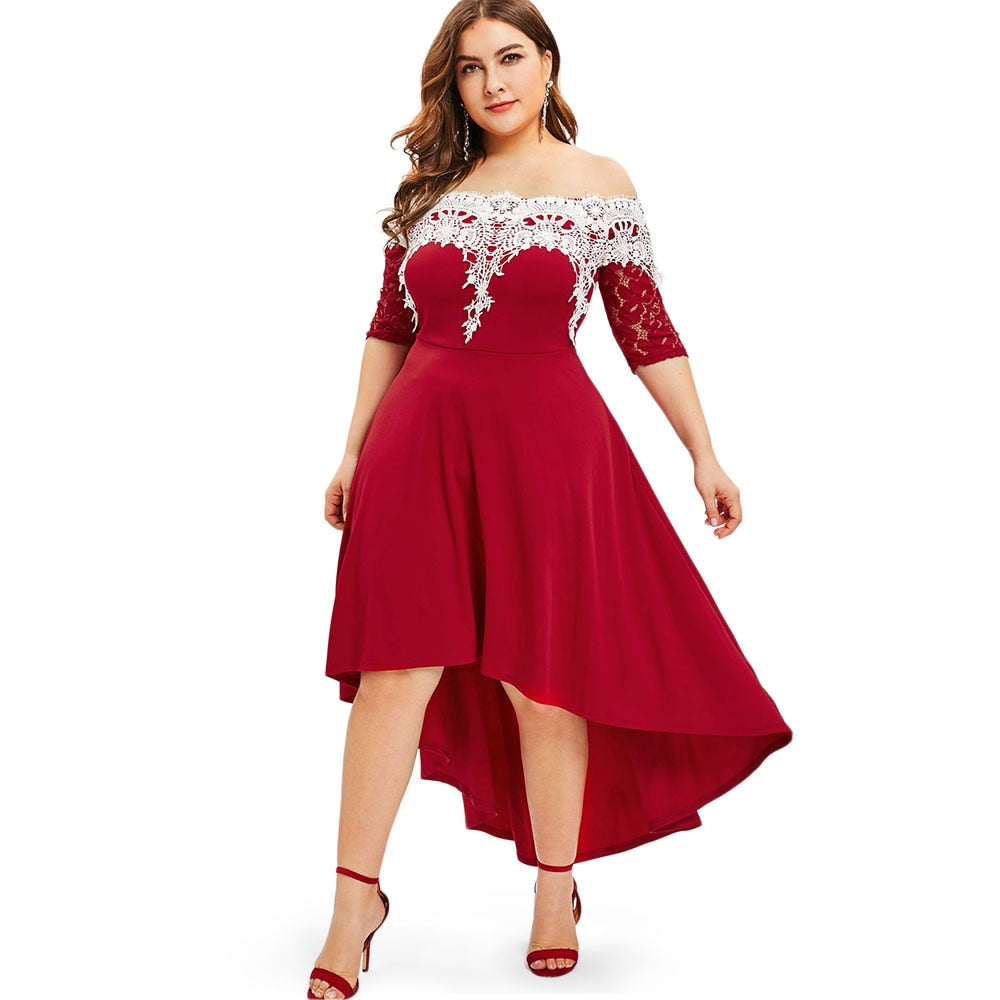 Lace Panel Plus Size Dress