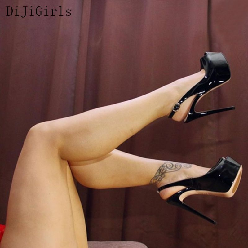 Leather Nighclub High Heels Peep toe Platform