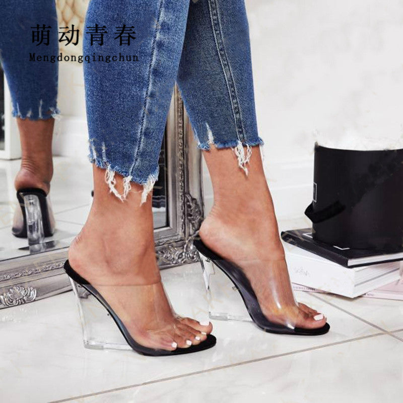 Crystal Open Toe Heels