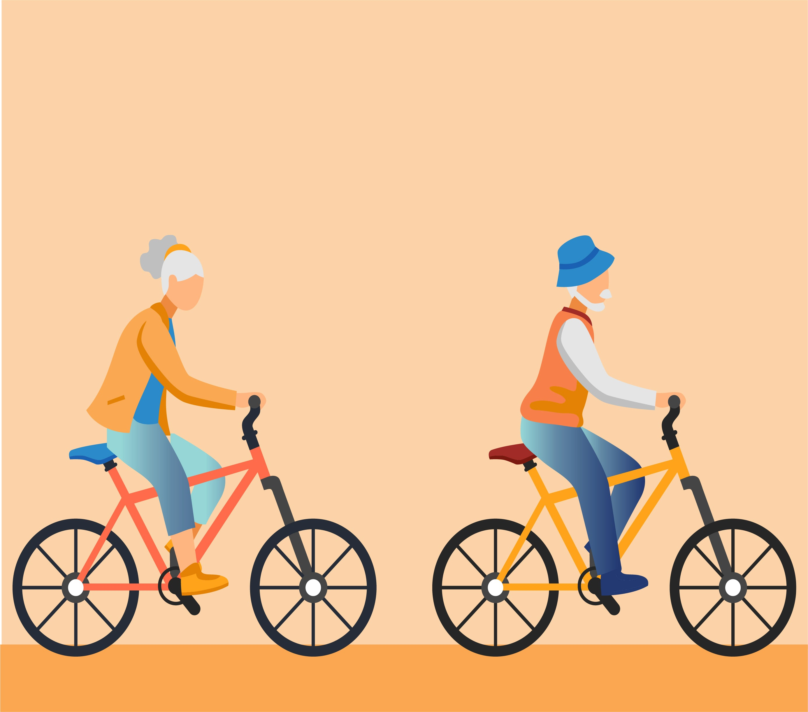 Photo of Woman and man riding bicycles